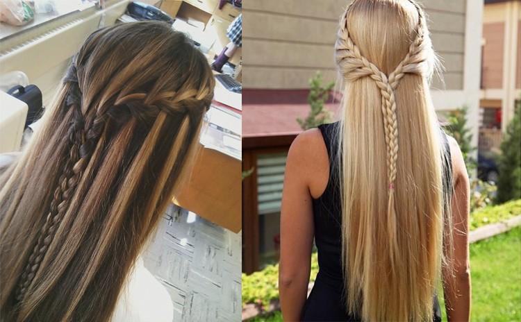 Распущенные волосы с косами