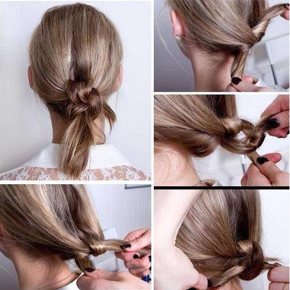 Прическа «Узел» на средних волосах