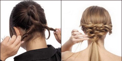 Прическа «Хвосты со жгутом» на средние волосы