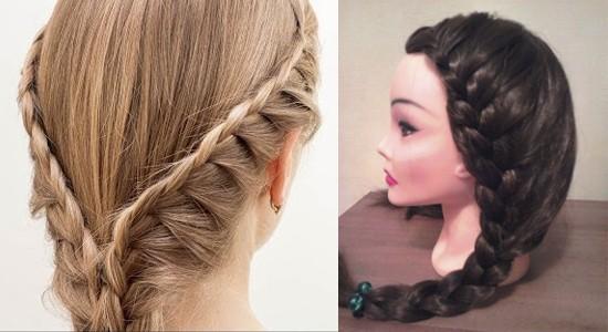 Вечерняя прическа на средние волосы «Французская коса с подхватами»