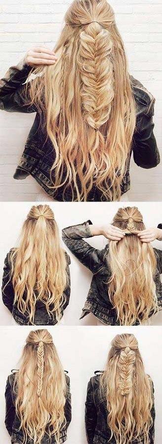 Бохо на части волос - вечерняя прическа с косой, пошагово