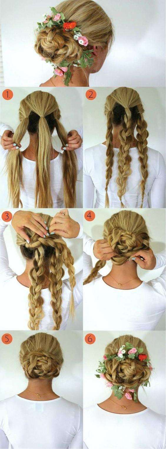 Плетеная корона - модная вечерняя прическа с косами, пошаговая инструкция выполнения