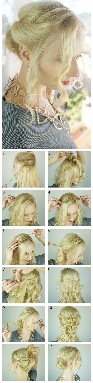 Праздничная укладка с простыми косами вокруг головы пошагово для вечера