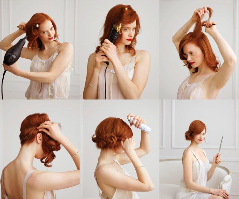 Боковой «пучок» - прическа на вечеринку на средние волосы, этапы выполнения