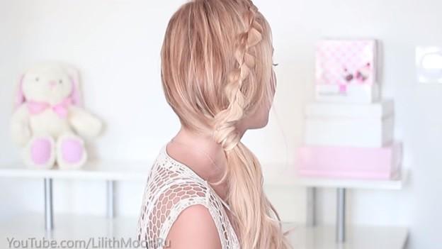 Хвост, украшенный волнистой косой, 6 этап выполнения