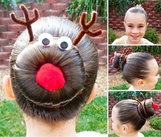 Прически девочкам на Новый год - красиво украшенный Пучок из волос