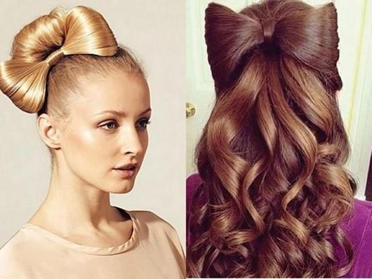 Бант из волос - новогодняя прическа на длинные волосы