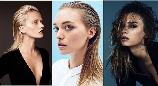 «Мокрые» волосы - модная прическа на Новый год