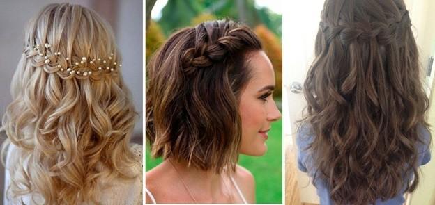 Полуколосок со свободными прядями - прическа для средних волос на Новый год