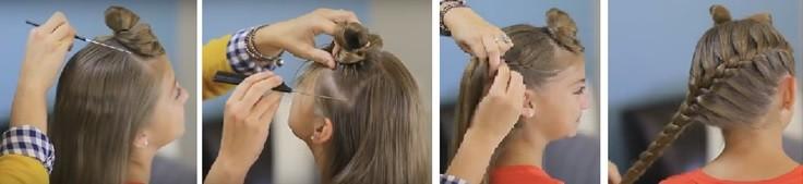 Французская коса с бантиками: пошаговая инструкция 1