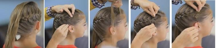 Французская коса с бантиками: пошаговая инструкция 2