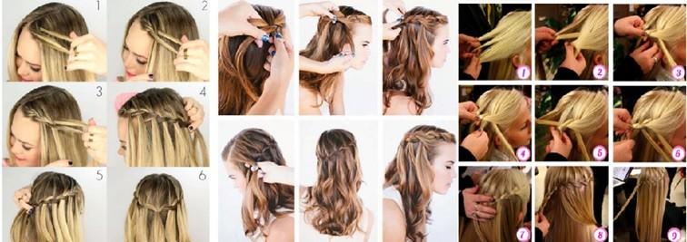 Французская коса – водопад, схема плетения