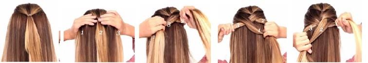 Французская коса - схема плетения 1