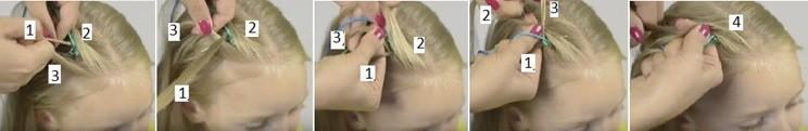 Голландская коса с лентой, схема плетения часть 3