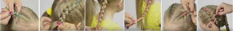 Голландская коса с лентой, схема плетения часть 4