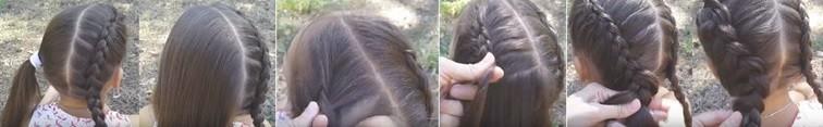 Две параллельные голландские косы, пошаговая схема 2