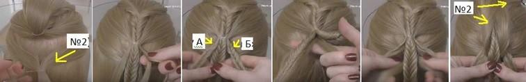 Коса на косе с резиночками, схема плетения часть 2
