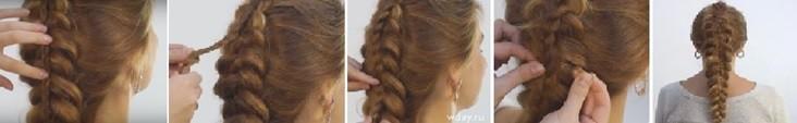 Коса на косе (двойная коса): как плести, схема плетения 3 часть