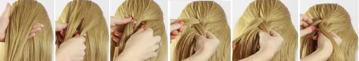 Коса на косе (двойная коса): схема плетения 1