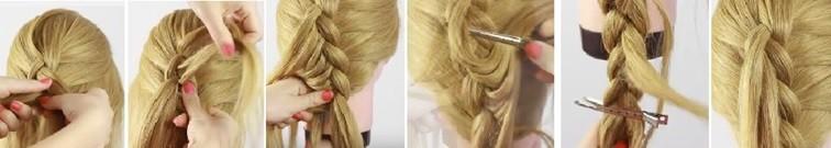 Коса на косе (двойная коса): схема плетения 2