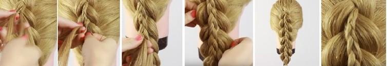 Коса на косе (двойная коса): схема плетения 3