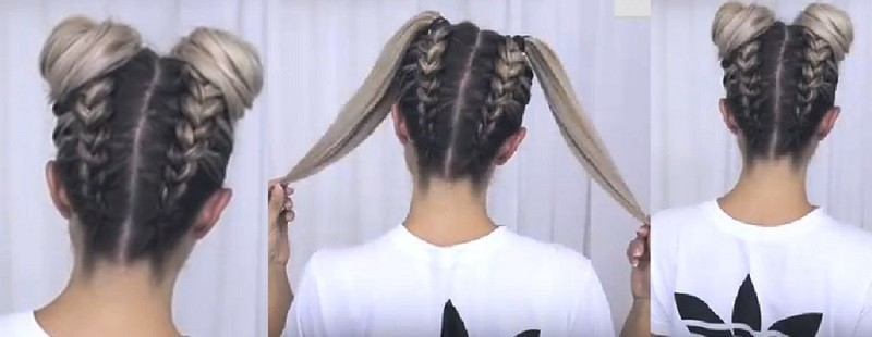 Милые ушки из волос с двумя перевёрнутыми косами