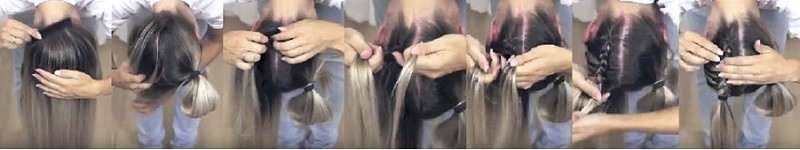 Милые ушки из волос с двумя перевёрнутыми косами пошагово 1