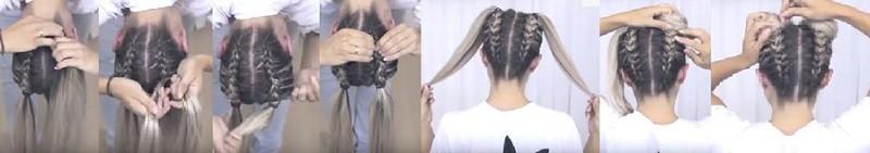 Милые ушки из волос с двумя перевёрнутыми косами пошагово 2