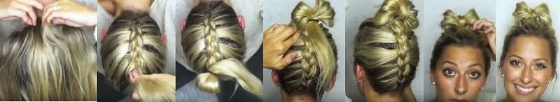 Бантик из волос и обратная коса поэтапно