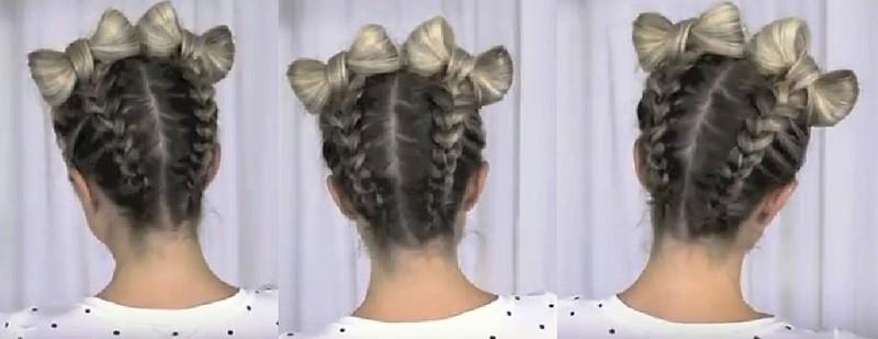 Бантик из волос и обратная коса