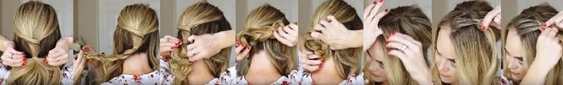 Изящный пучок с косами пошагово 2