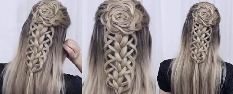 Прически с косами на длинные волосы - Шикарный цветок и ажурное кружево