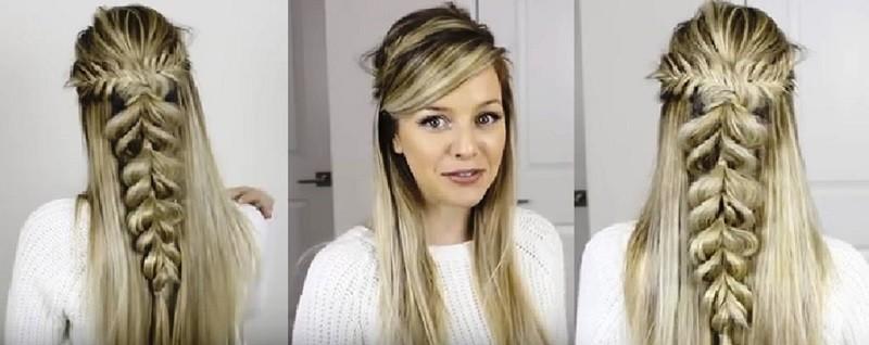 Пушистая коса из резинок в сочетании с колосками и распущенными волосами