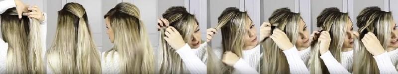 Пушистая коса из резинок в сочетании с колосками и распущенными волосами: этапы выполнения 1