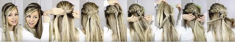 Пушистая коса из резинок в сочетании с колосками и распущенными волосами: этапы выполнения 2