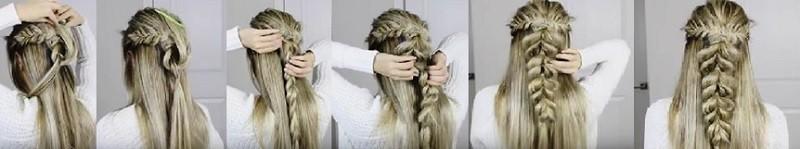 Пушистая коса из резинок в сочетании с колосками и распущенными волосами: этапы выполнения 3