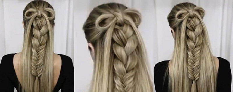 Изысканное сочетание косы, колоска и бантика из волос