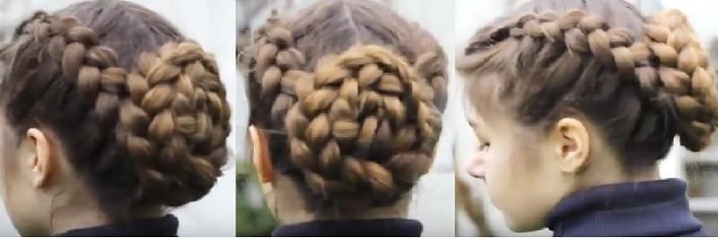Прически с косами на длинные волосы - Плетёный узел из голландских кос