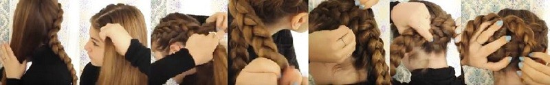 Плетёный узел из голландских кос: этапы выполнения 2