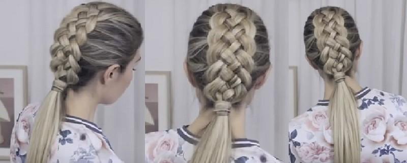 Прически с косами на длинные волосы - Объёмная коса из пяти прядей