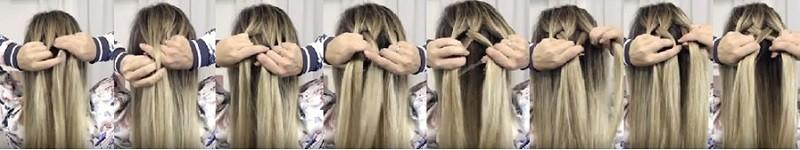 Объёмная коса из пяти прядей: этапы выполнения 1