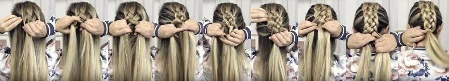 Объёмная коса из пяти прядей: этапы выполнения 2