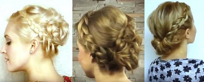Греческая коса в сочетании с пучком
