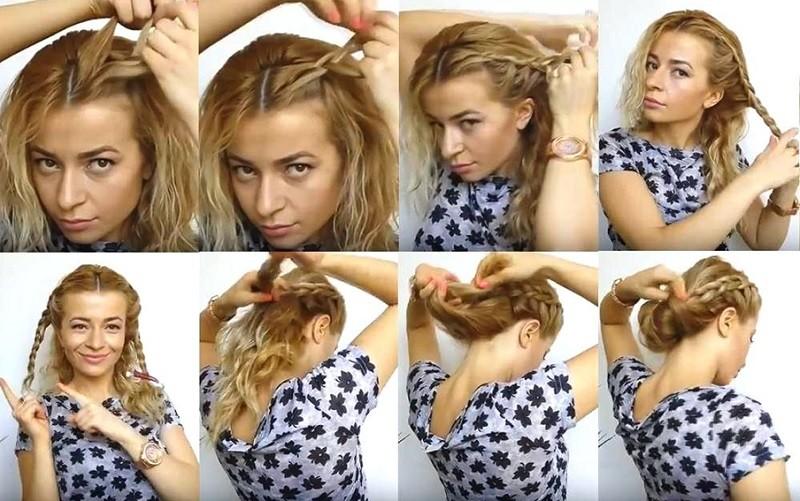 Греческая коса: Пучок под косой поэтапно