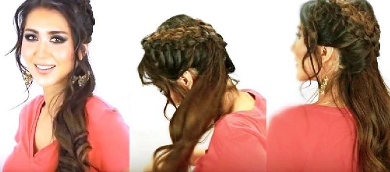 Греческая коса с челкой по бокам