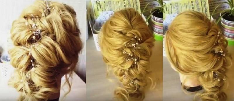 Объемная греческая коса с помощью резиночек