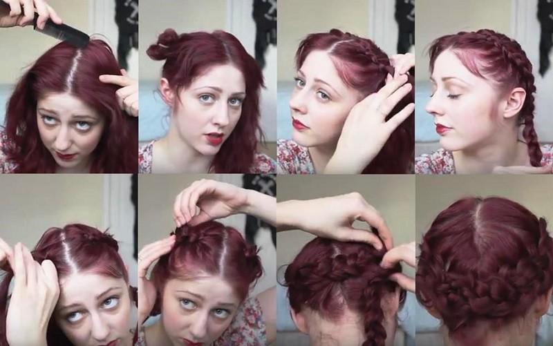 Классическая греческая коса из двух кос пошагово