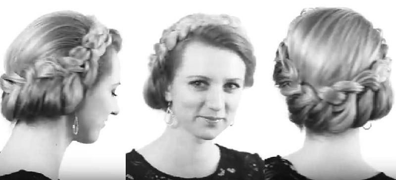 Круговая греческая коса в технике голландской косы