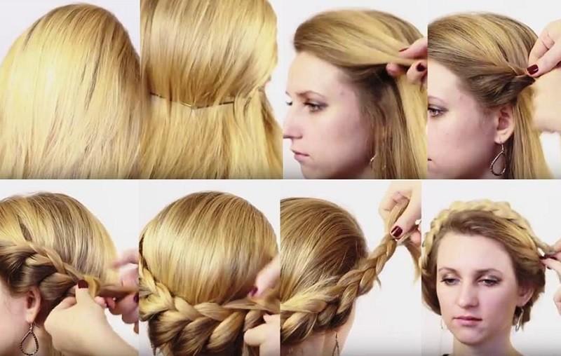 Круговая греческая коса в технике голландской косы пошагово