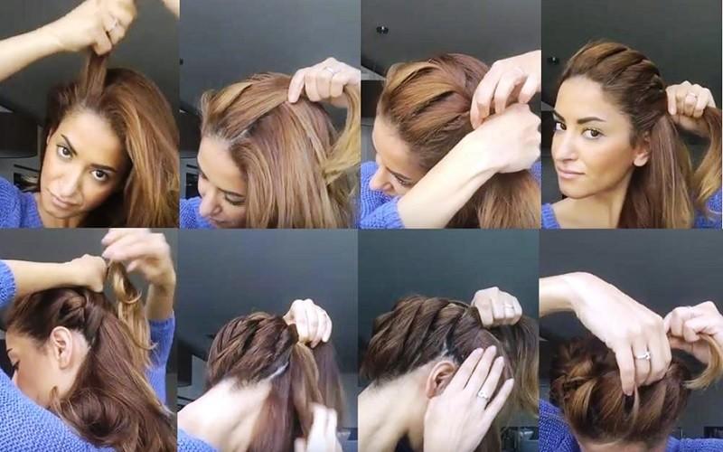 Кручёная греческая коса, вариант выполнения 1